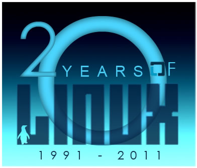 Stylized text saying 20 years of linux
