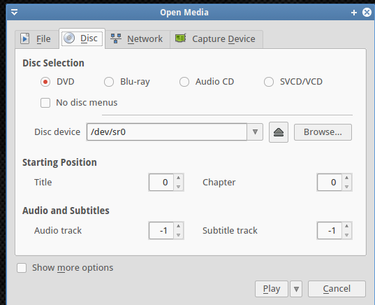 Disc selection types in VLC