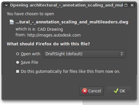 DraftSight File Dialog