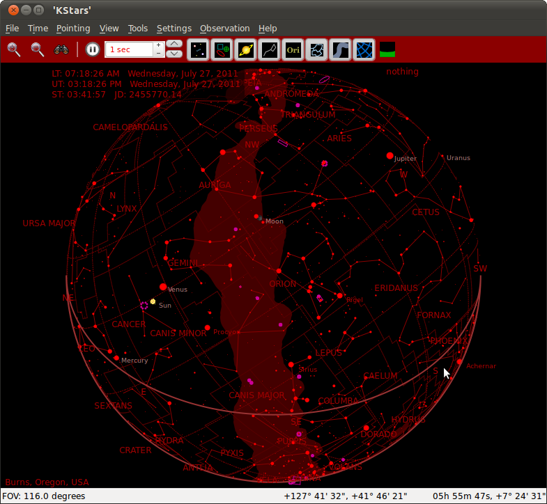 Figure 1: KStars in star globe view and night mode colors