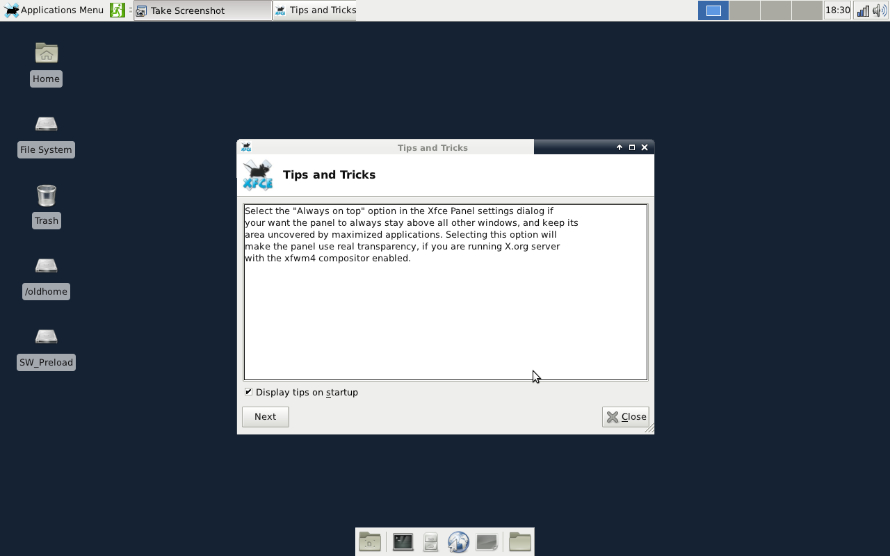 Figure 1: Default Xfce 4.8 Desktop