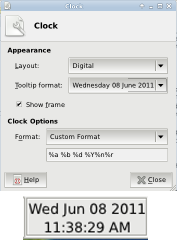 Figure 2: Clock configuration dialog, and how the clock looks.