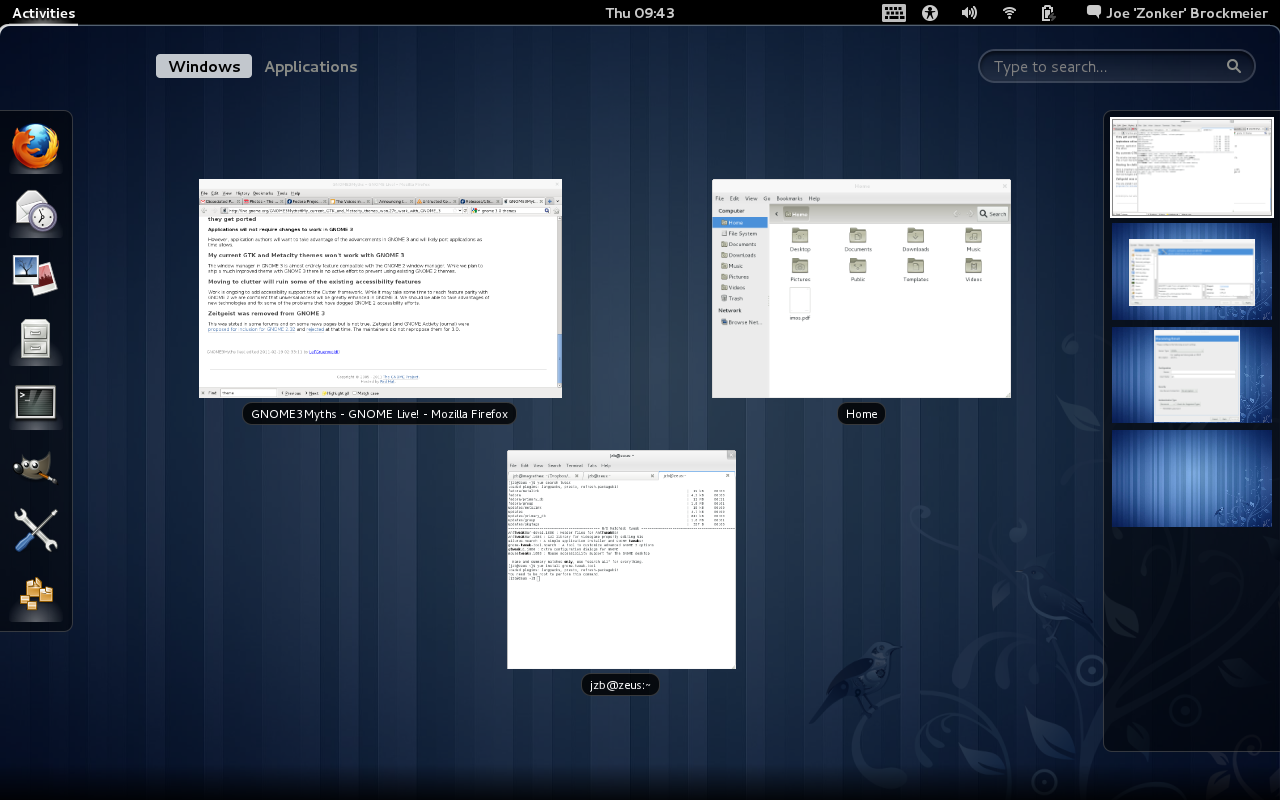 GNOME 3.0 Choosing Windows