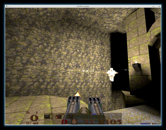 Figure 1: Going up against a Scrag in Quake 1