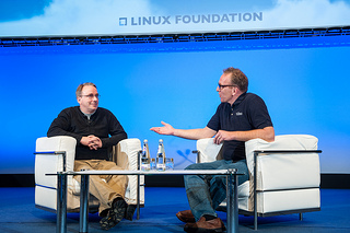 Linus and Dirk on stage at LinuxCon Europe