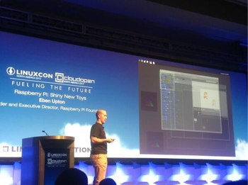 Eben Upton on stage at LinuxCon 2013