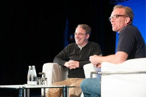 Linus Torvalds and Dirk Hohndel on stage at LinuxCon Europe.