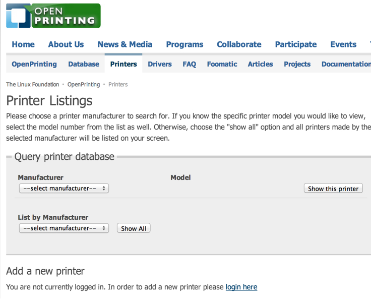 OpenPrinting website