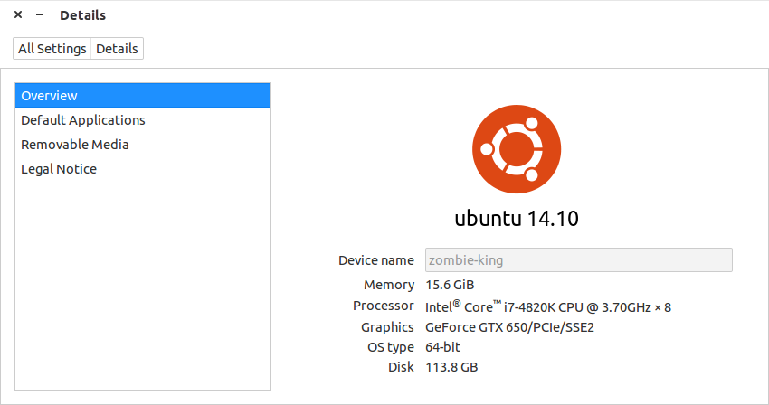 Figure 3: The Ubuntu release number as seen from the Settings tool.