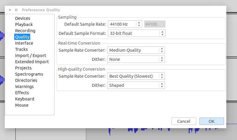 audacity default sample rate