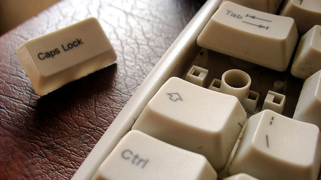 caps lock key removed from a keyboard