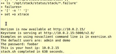 Figure 1: A successful OpenStack installation.
