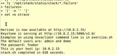 Figure 1: A successful OpenStack installation.