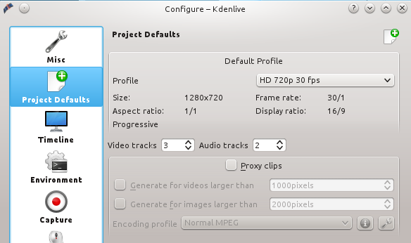 Figure 1: Default profile settings.