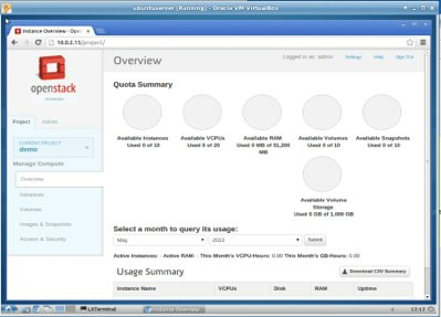 The Horizon dashboard, after OpenStack installation.