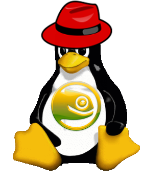 Tux in a Red Hat and SUSE logo