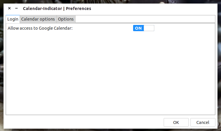 The Calendar-indicator preferences window.