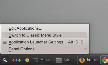 kde desktop menu