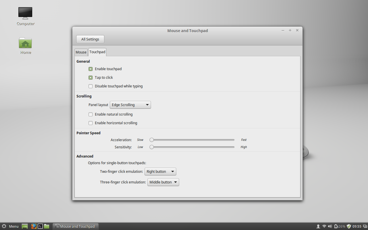 Figure 2: The new Touchpad settings tab.