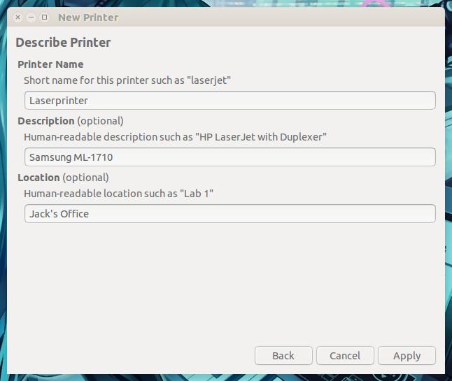 図 3: プリンターの詳細を設定する