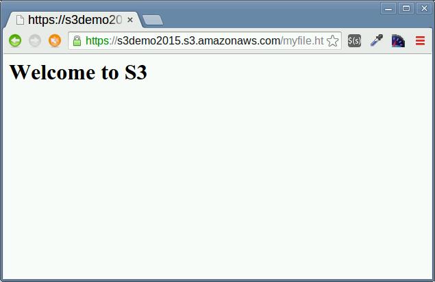 Amazon S3 にアップロードした HTML ファイルを表示した。