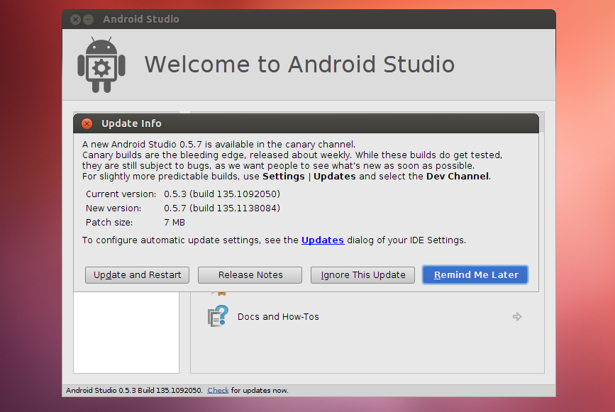 android studio run apk linux