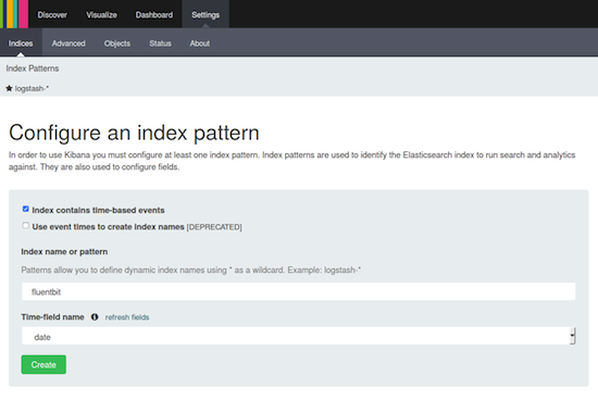 F3 kibana settings indexp