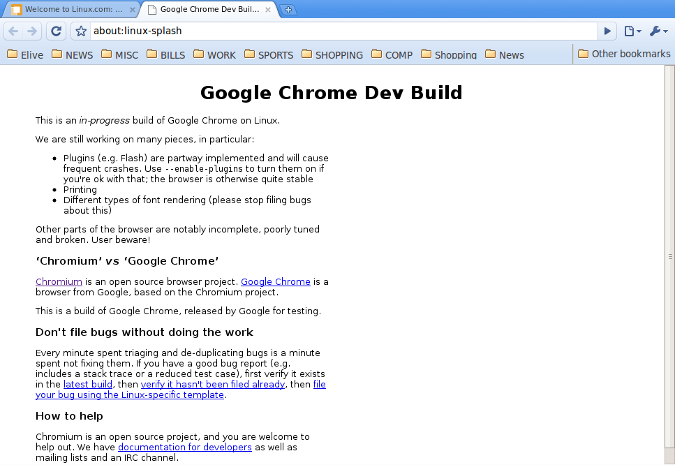 Chrome Browser Main Page