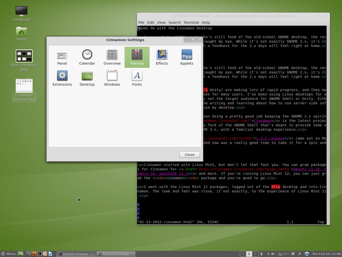 Cinnamon Desktop and Settings