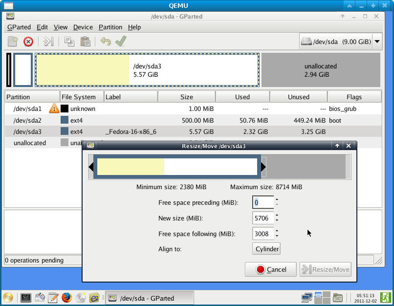 Figure 1: Booting a virtual machine to System Rescue CD, and resizing the filesystem with Gparted.