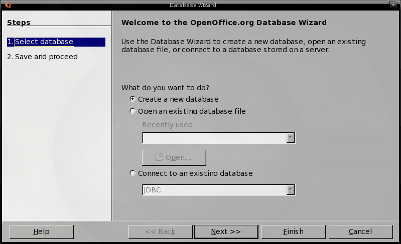 Step 1 of the Database Wizard