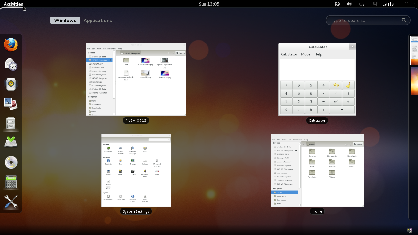 Figure 1: In GNOME 3.2 your open applications iconify when you switch to Activities view. See the virtual desktop switcher shyly peeping from the right.