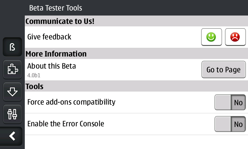 The beta contains some built-in testing and feedback options, found in the configuration panel to the right of the browser window.