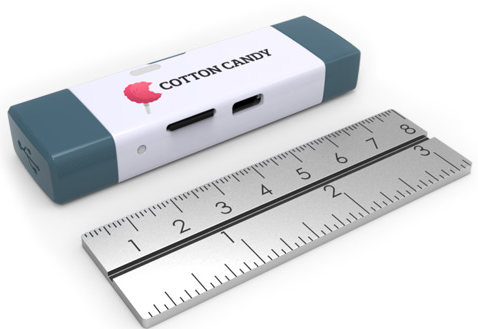 Figure 1: The tiny feature-packed Cotton Candy portable computer.