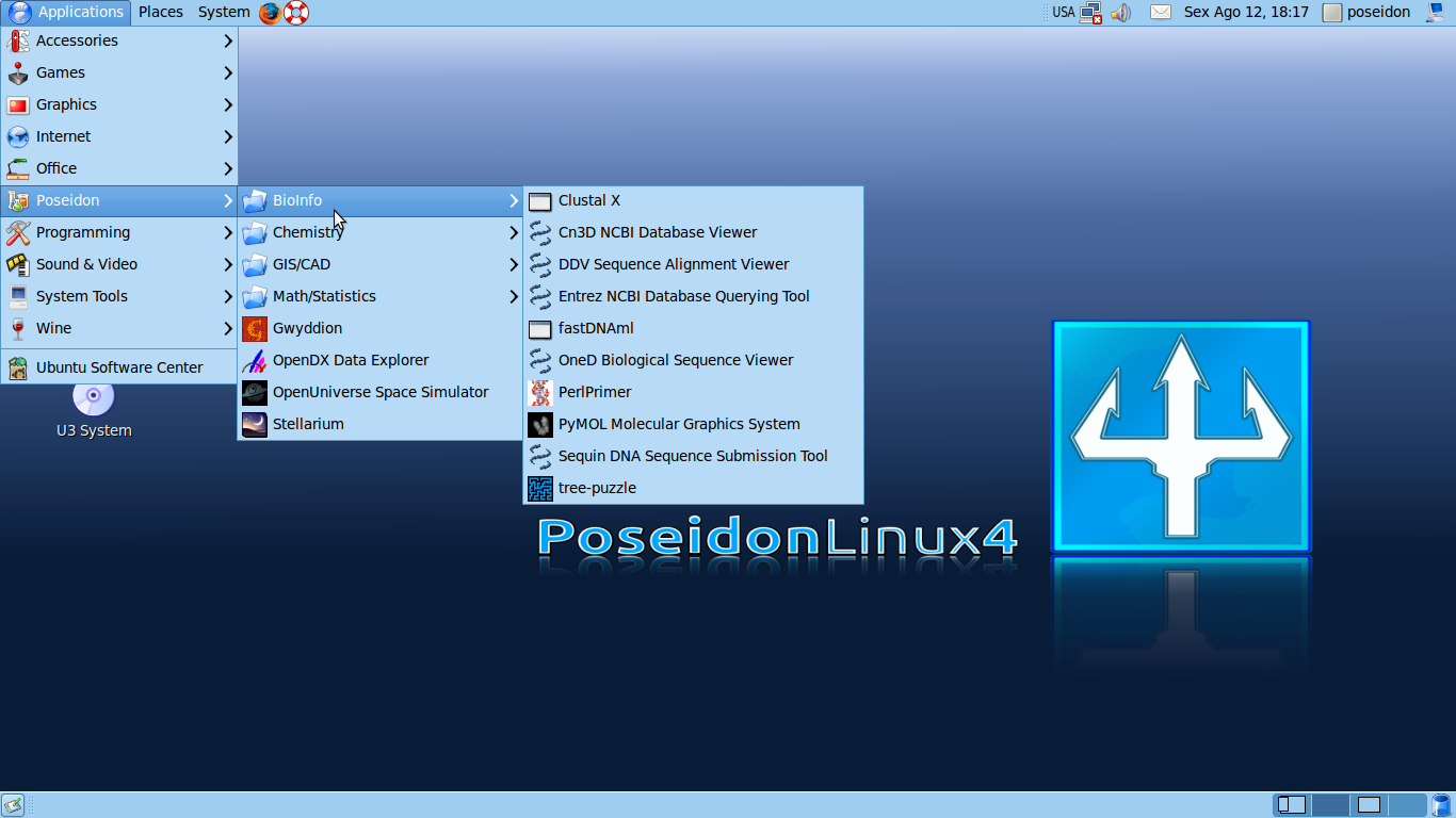 Figure 1: The attractive, calming blue Poseidon desktop