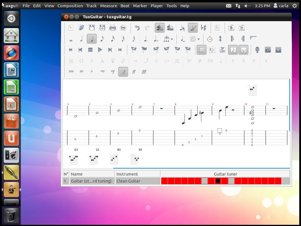 Dream Studio 11.10 with Tuxguitar on the Unity desktop