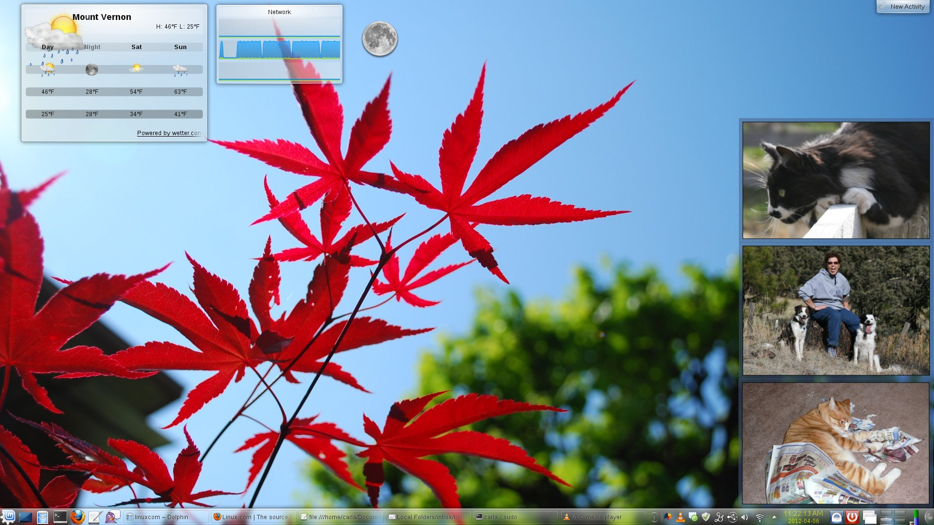 Figure 1: KDE4 desktop with photo frames, weather, network and lunar phase widgets, and a panel all full of everyday necessities.
