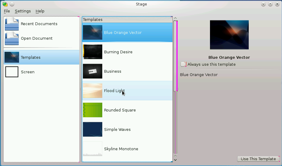 Figure 1: The opening screen of Stage, which has the same elements and organization as most Calligra applications.