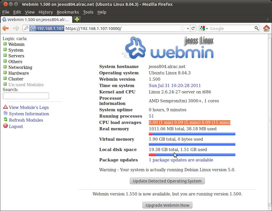 Figure 1: Webmin Console