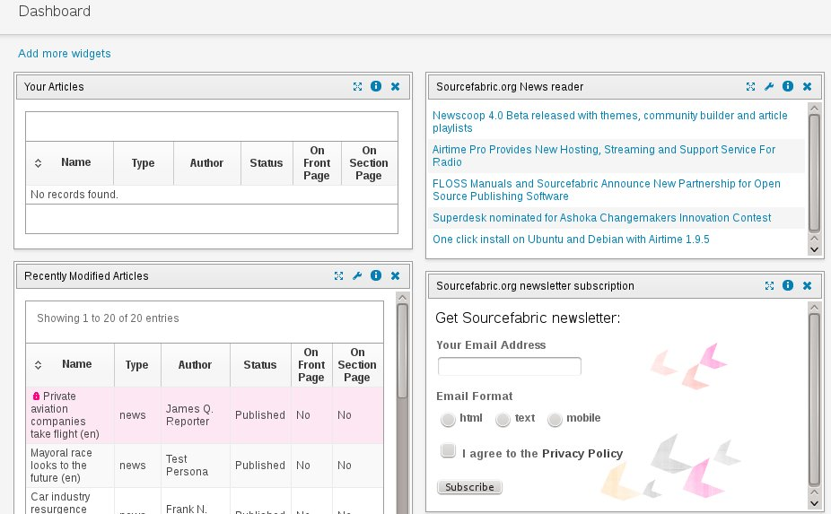 Figure 2: The Newscoop Dashboard displays all the publication status information you want in one view.