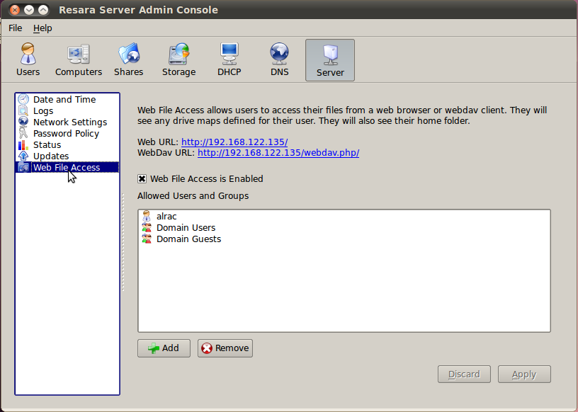 Figure 2: Setting up WebDav in the Admin Console.