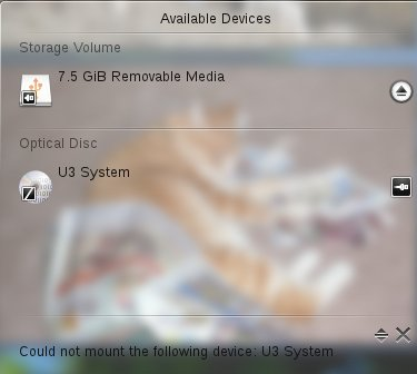 Figure 2: KDE4's Device Notifier sees the special U3 partition.