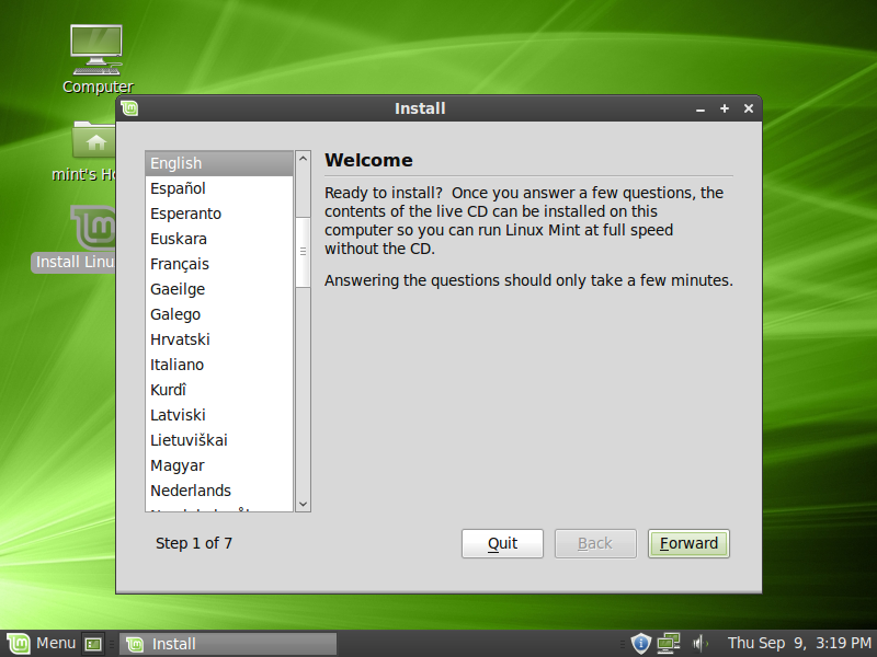 Linux Mint Welcome Menu