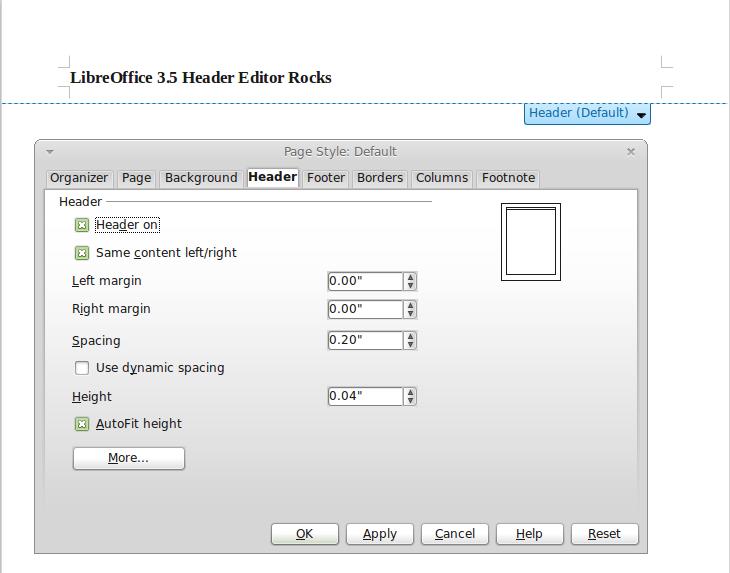 LibreOffice 3.5 Header Editor