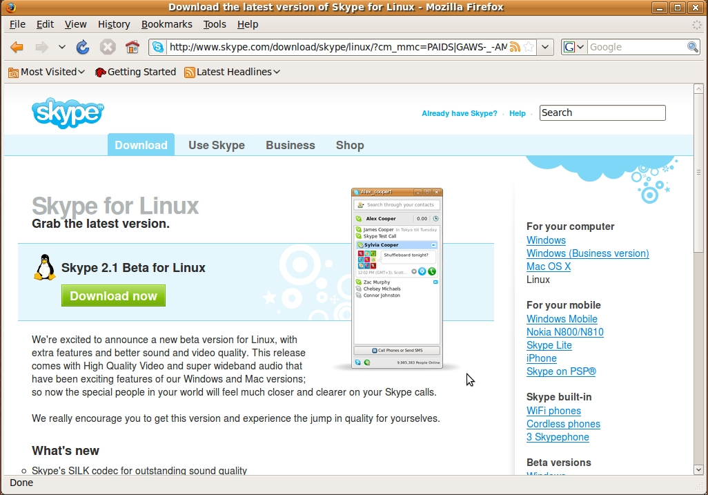 Skype for Linux Download Page