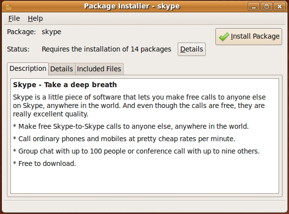 Ubuntu Package Installer ready to install Skype