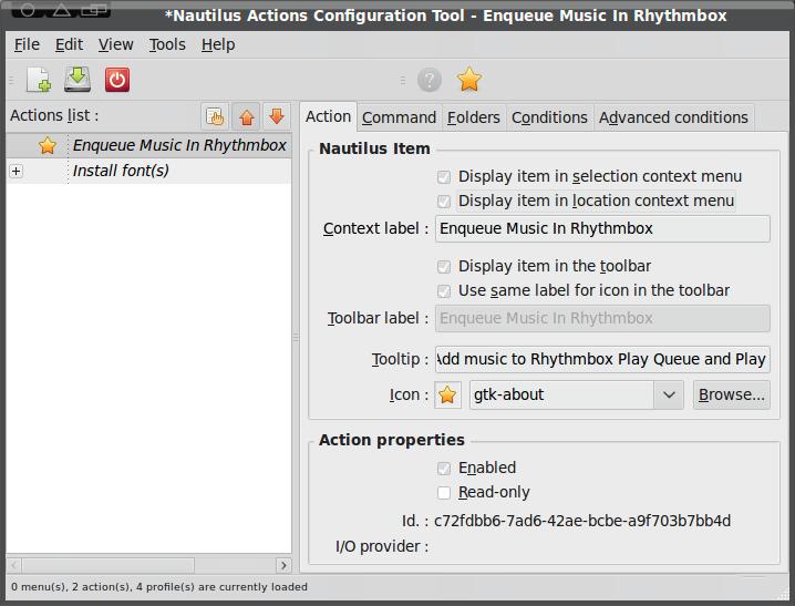 Nautilus Actions Configuration tool