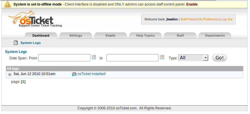 osTicket Admin Panel