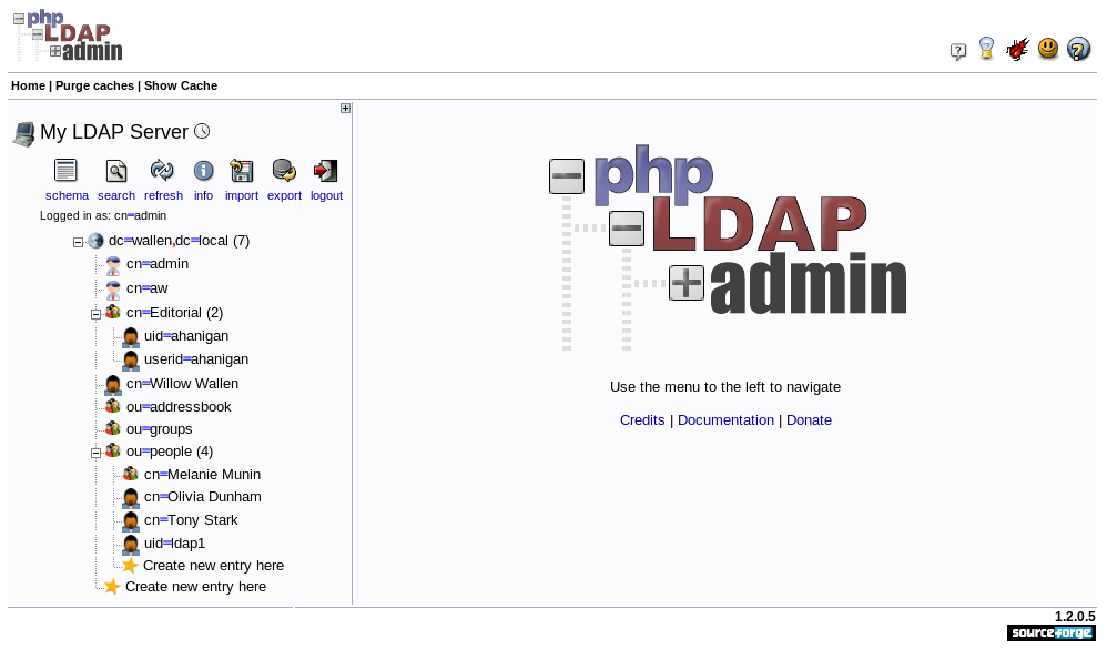 phpLDAPadmin logged in