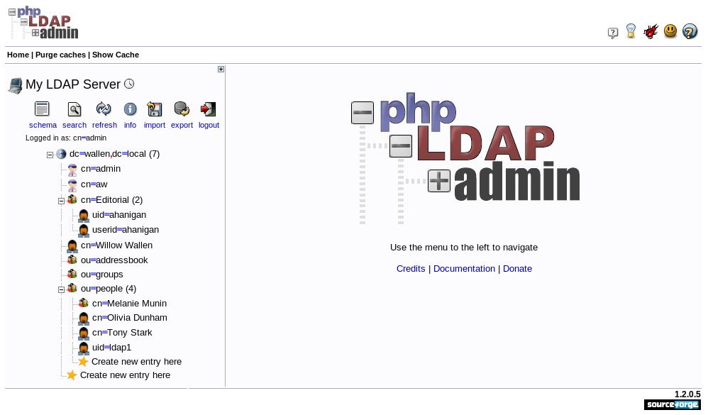 phpLDAPadmin logged in